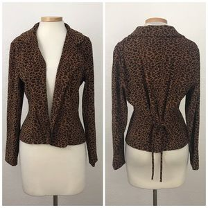 Vintage 90's Cheetah Button Blazer Tie Back Blazer